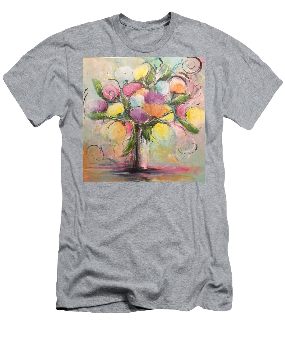 Flowers Men's T-Shirt (Athletic Fit) featuring the painting Spring Fling Flowers In A Vase by Debra Wronzberg