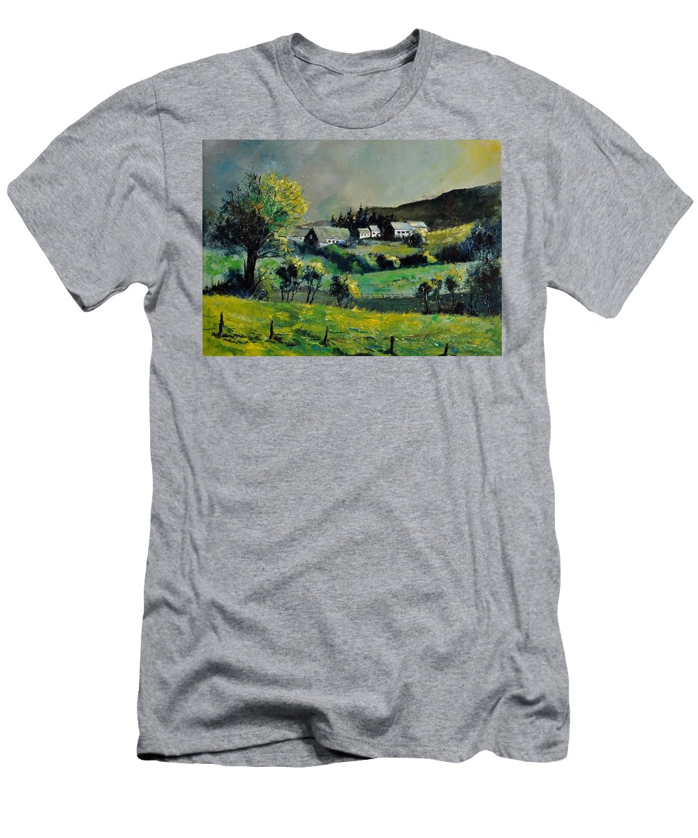 Landscape T-Shirt featuring the painting Spring in Voneche by Pol Ledent