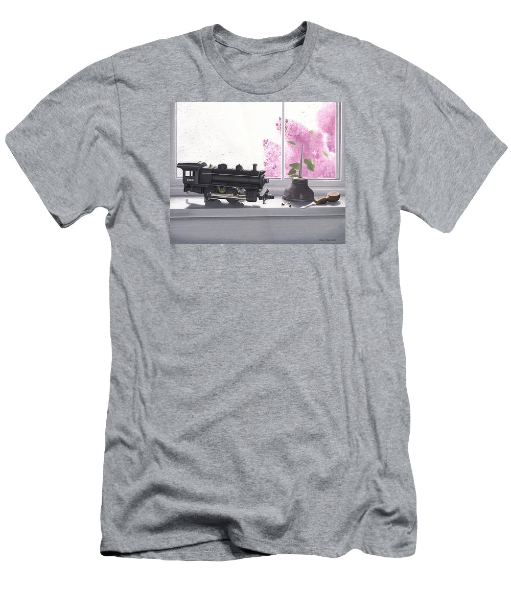 Lionel Men's T-Shirt (Athletic Fit) featuring the painting Spring Rain Electric Train by Gary Giacomelli