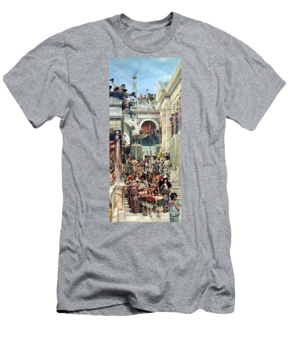 Spring Men's T-Shirt (Athletic Fit) featuring the painting Spring by Sir Lawrence Alma-Tadema