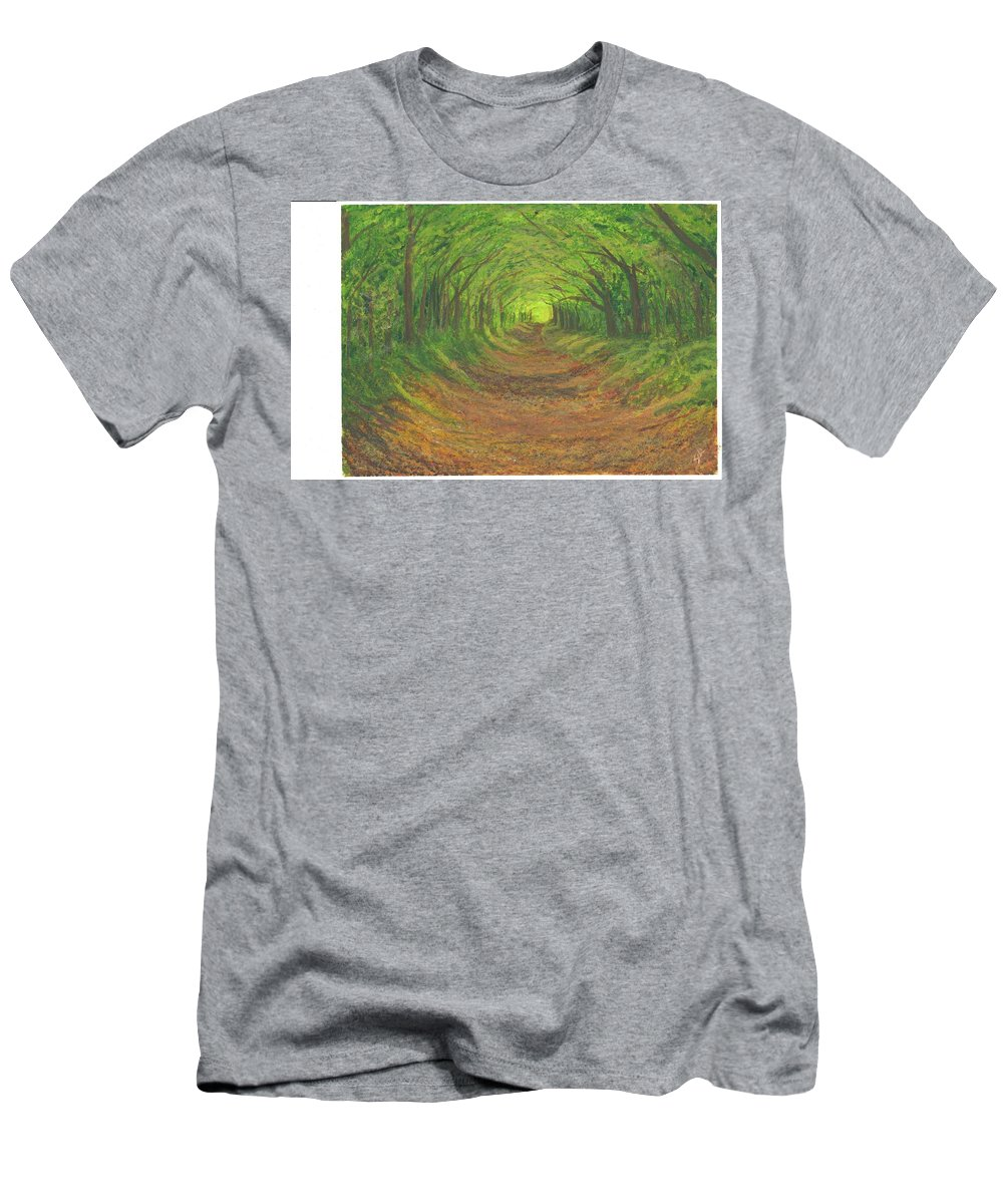 Landscape Men's T-Shirt (Athletic Fit) featuring the painting Spring Tree Tunnel by Stephen Riffe
