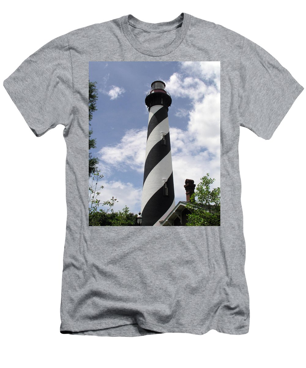 Lighthouse; Light; House; Keeper; St. Augustine; Florida; Coast; Shine; Fog; Storms; U.s.; Coast; Gu Men's T-Shirt (Athletic Fit) featuring the photograph St Augustine Florida Light by Allan Hughes