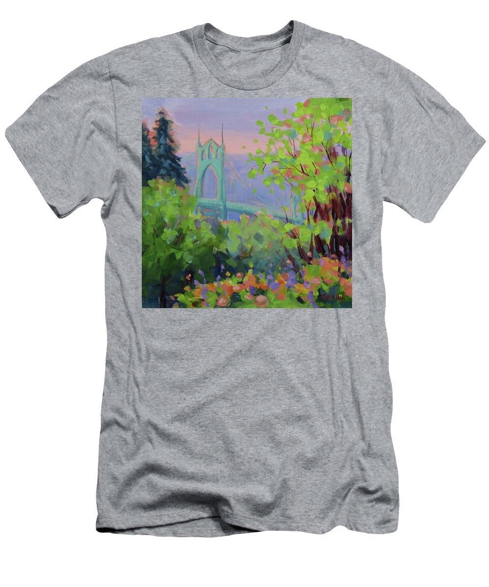 Portland T-Shirt featuring the painting St Johns by Karen Ilari