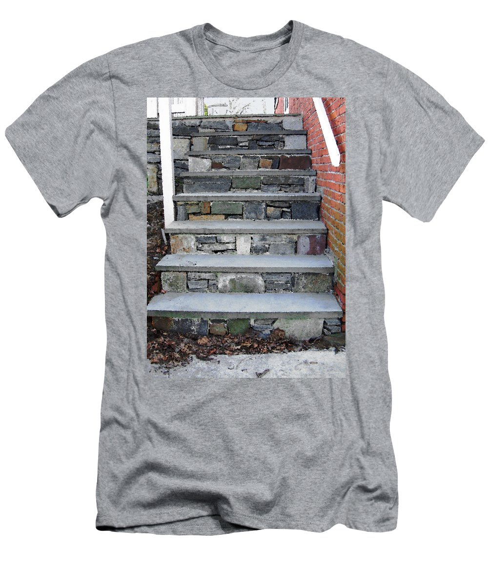Stairs Men's T-Shirt (Athletic Fit) featuring the photograph Stairs To The Plague House by RC DeWinter