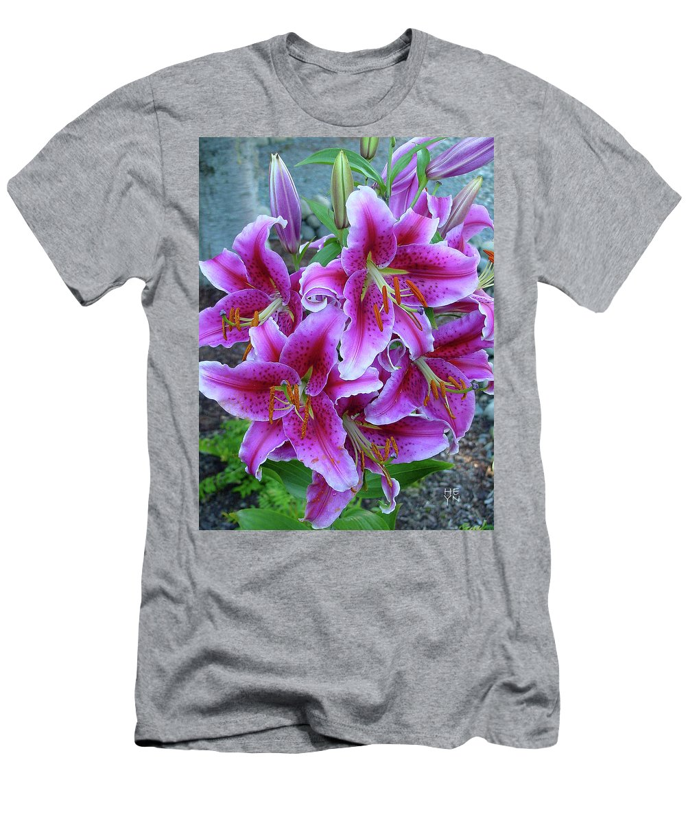 Group Men's T-Shirt (Athletic Fit) featuring the photograph Stargazer Lily by Shirley Heyn