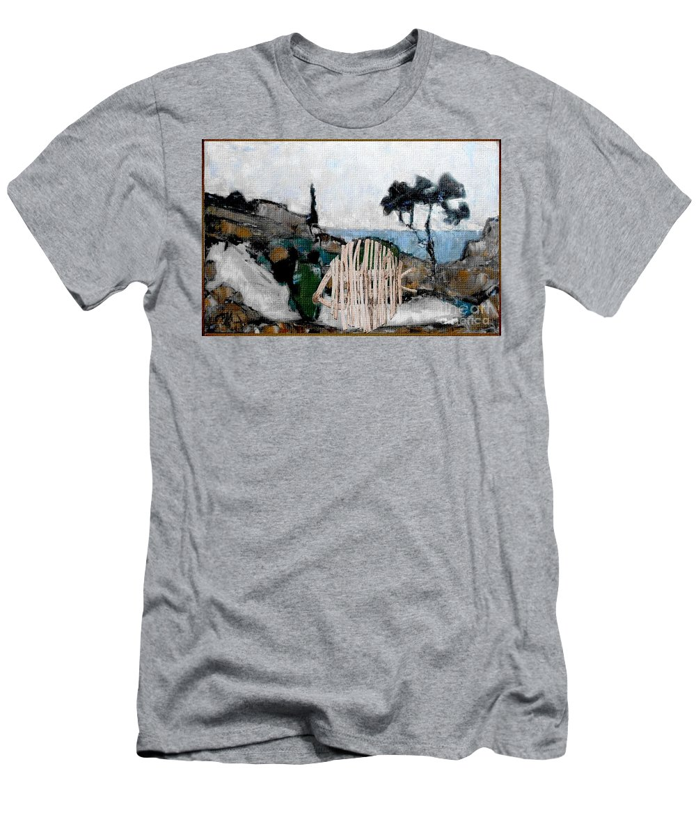 Modern Painting Men's T-Shirt (Athletic Fit) featuring the mixed media Statue Of Fish From Branches by Pemaro