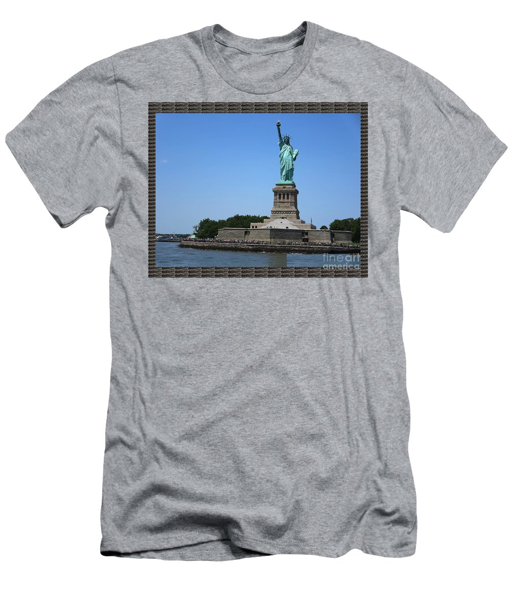 Statue Of Liberty Men's T-Shirt (Athletic Fit) featuring the photograph Statue Of Liberty New York America July 2015 Photo By Navinjoshi At Fineartamerica.com Island Landm by Navin Joshi