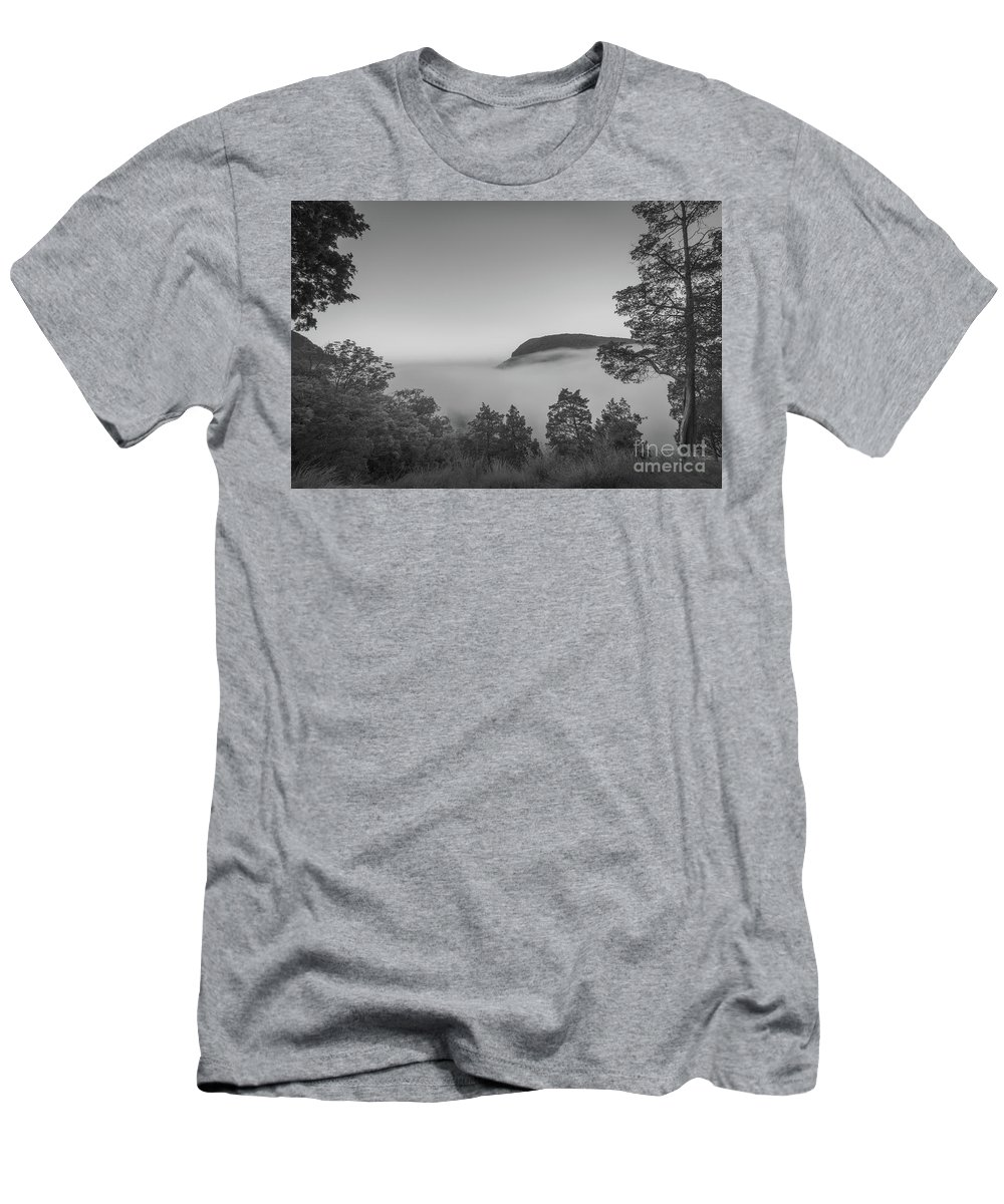 Morning Steam Men's T-Shirt (Athletic Fit) featuring the photograph Steam Valley Bw by Michael Ver Sprill