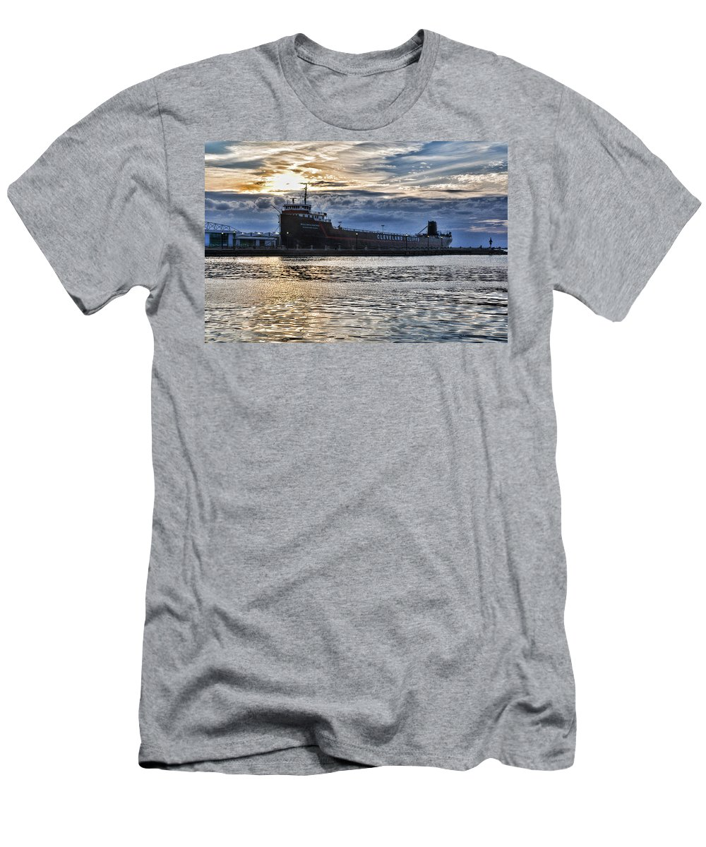 Steamship Men's T-Shirt (Athletic Fit) featuring the photograph Steamship William G. Mather - 1 by Mark Madere