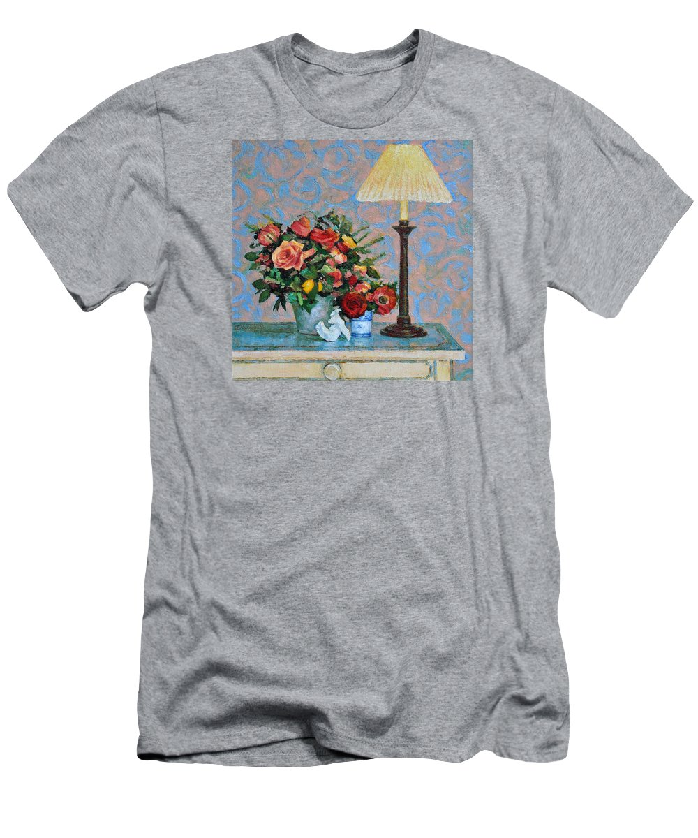 Flowers Men's T-Shirt (Athletic Fit) featuring the painting Still Life With A Lamp by Iliyan Bozhanov