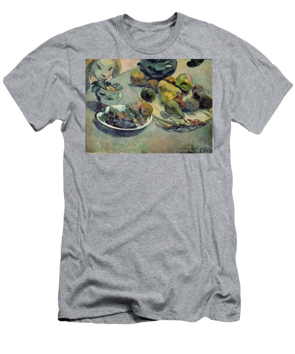 Still Life With Fruit Men's T-Shirt (Athletic Fit) featuring the painting Still Life With Fruit by Paul Gauguin