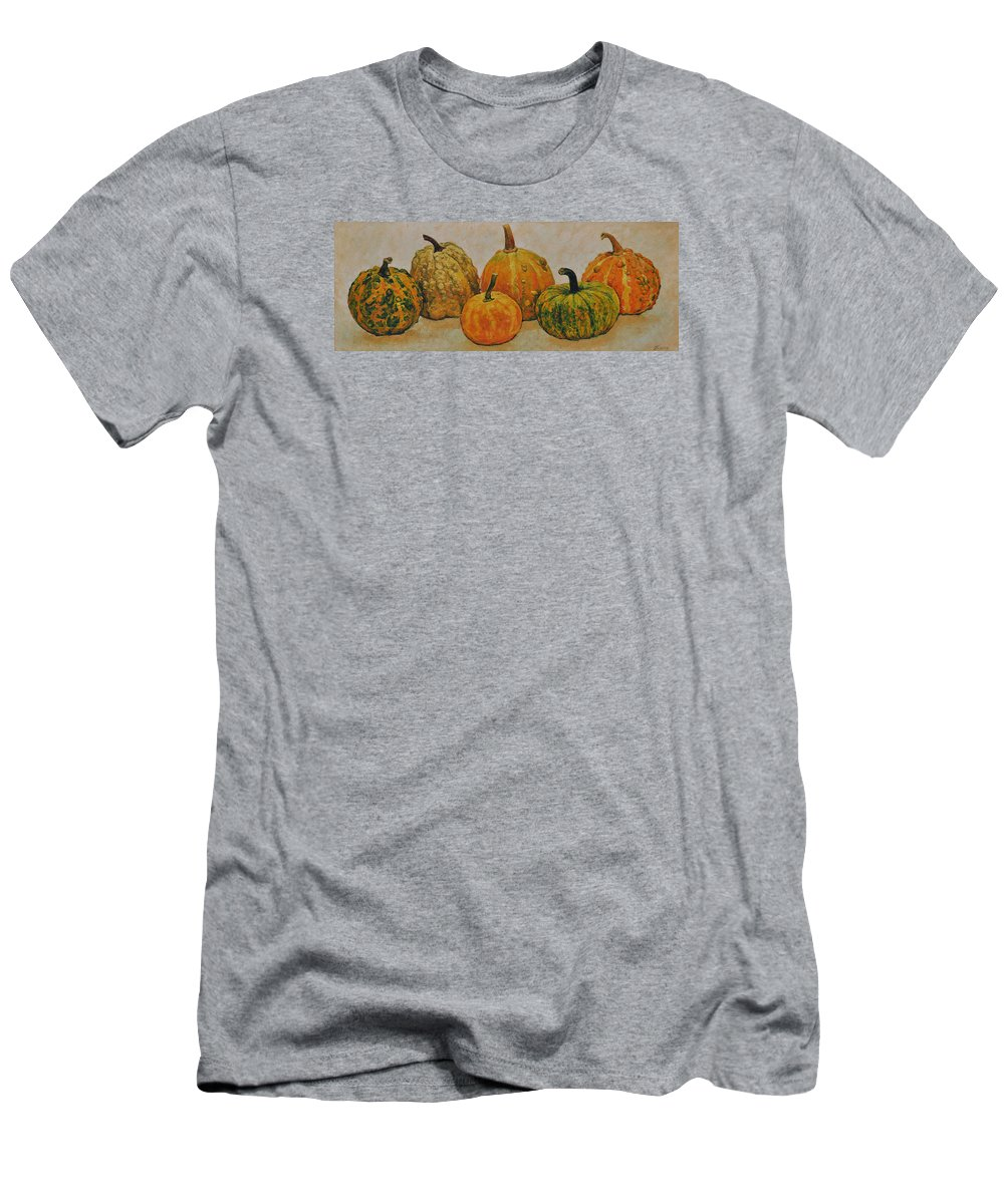 Still Life Men's T-Shirt (Athletic Fit) featuring the painting Still Life With Pumpkins by Iliyan Bozhanov