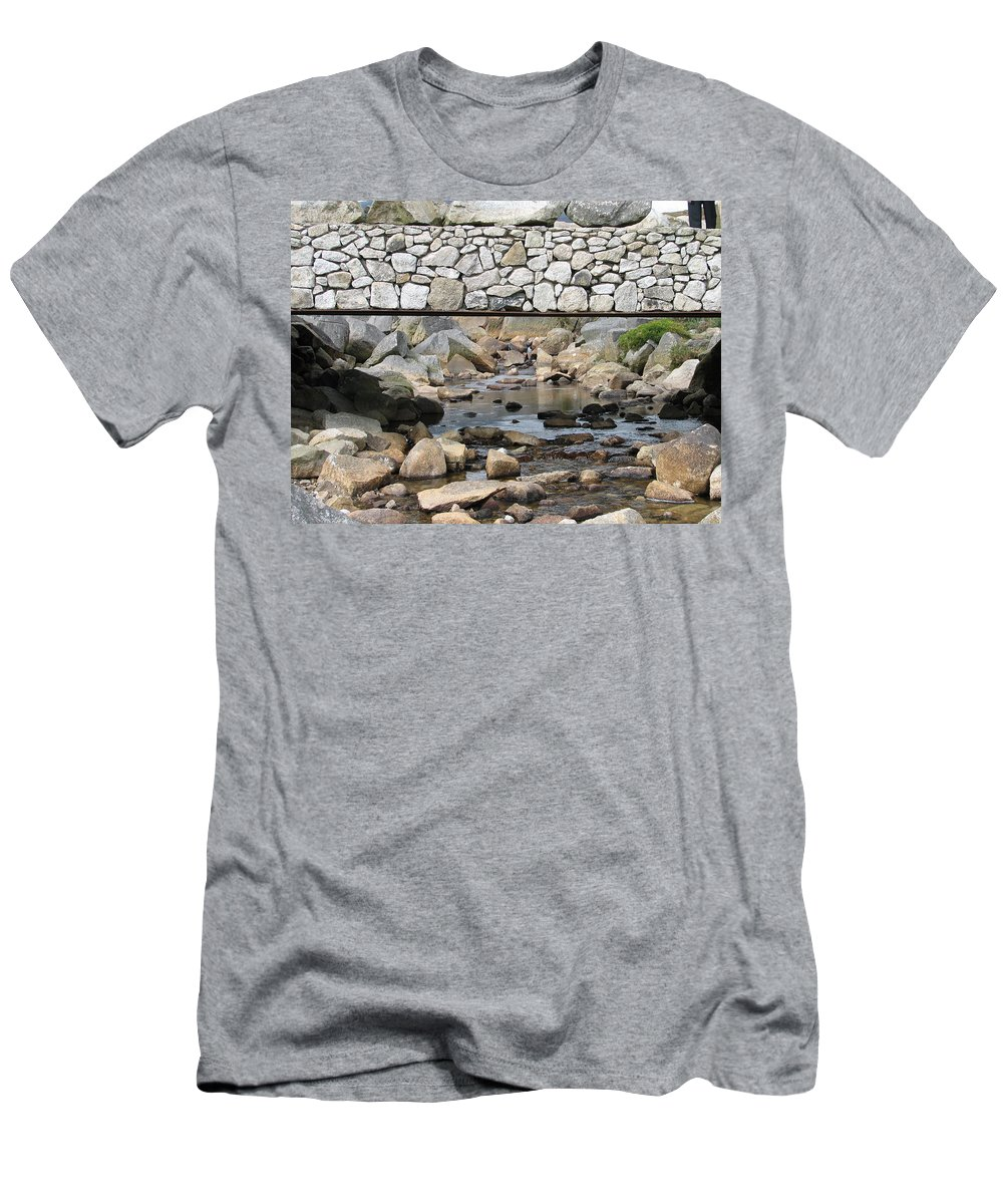 Stone Men's T-Shirt (Athletic Fit) featuring the photograph Stone Bridge by Kelly Mezzapelle