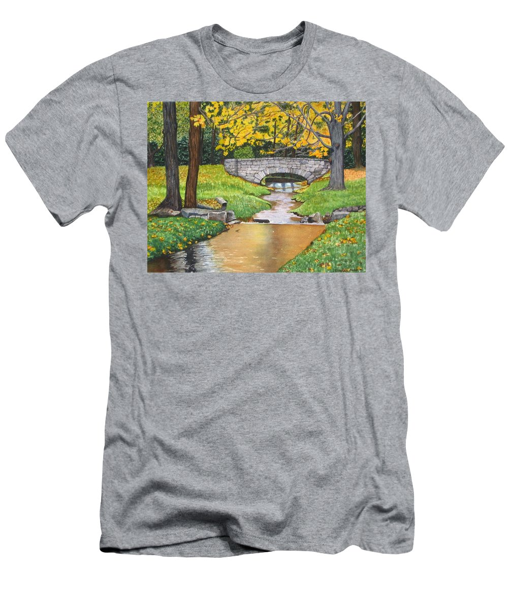 Landscape Men's T-Shirt (Athletic Fit) featuring the painting Stone Bridge by Sharon Farber