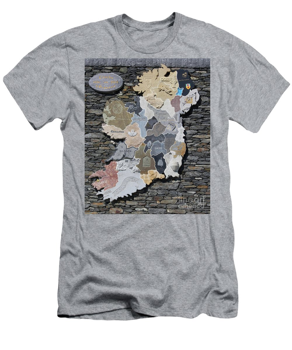 Stone Men's T-Shirt (Athletic Fit) featuring the photograph Stone Map Of Ireland by Eddie Barron