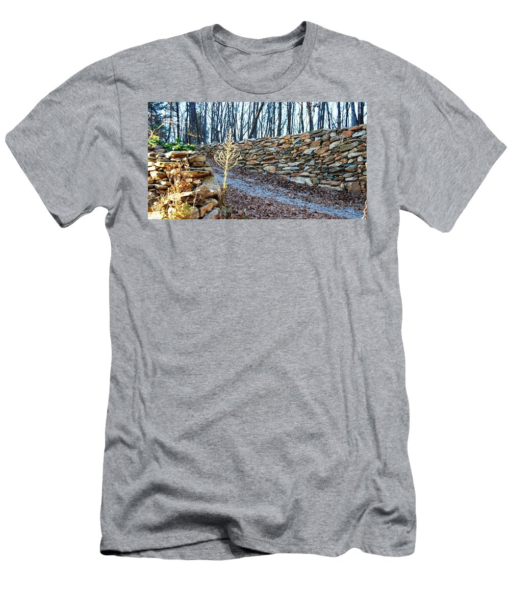 Photograph Men's T-Shirt (Athletic Fit) featuring the photograph Stone Wall Ga Mountain 1 by Angela Murray