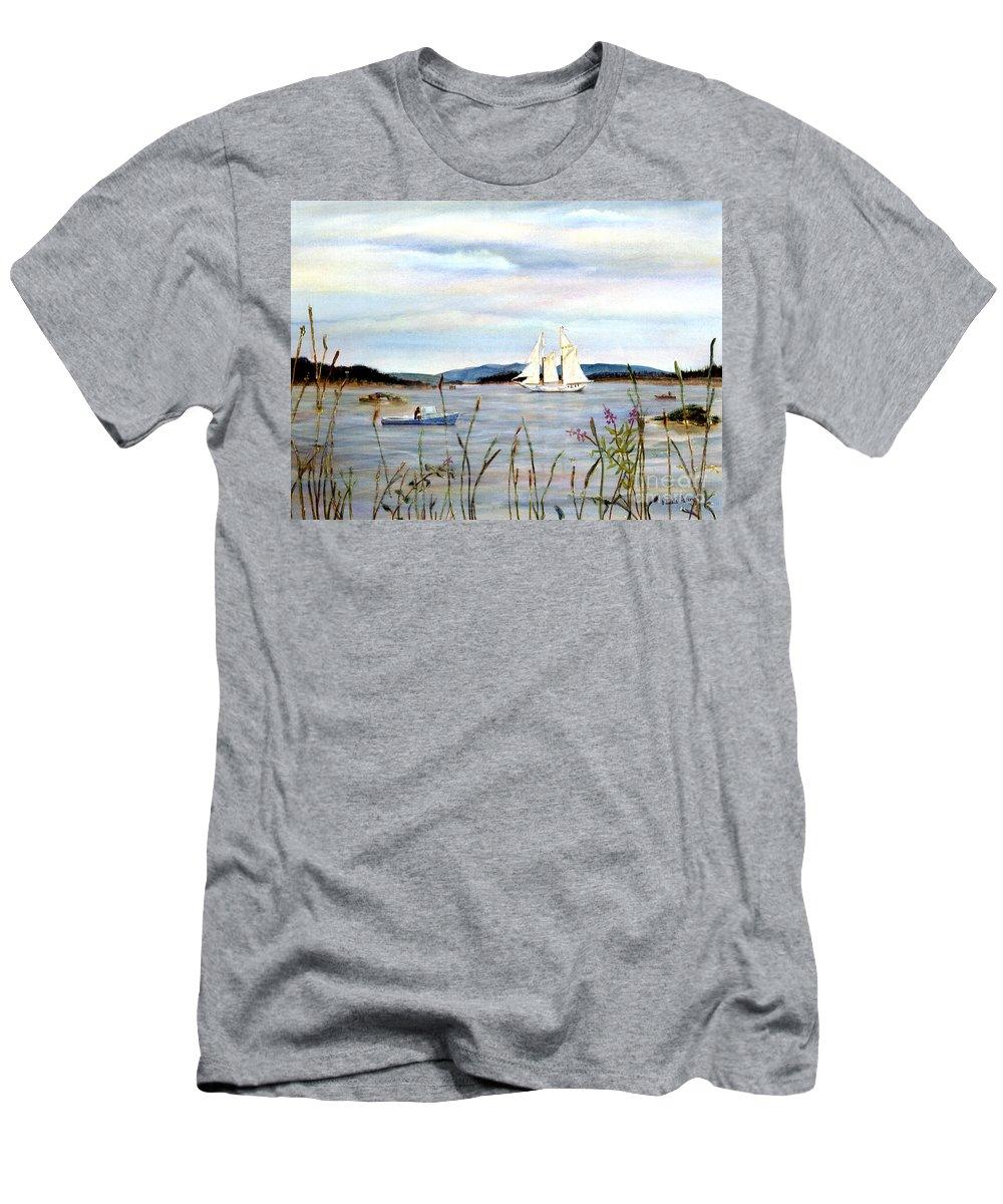 Stonington Harbor Men's T-Shirt (Athletic Fit) featuring the painting Stonington Harbor, Maine by Pamela Parsons