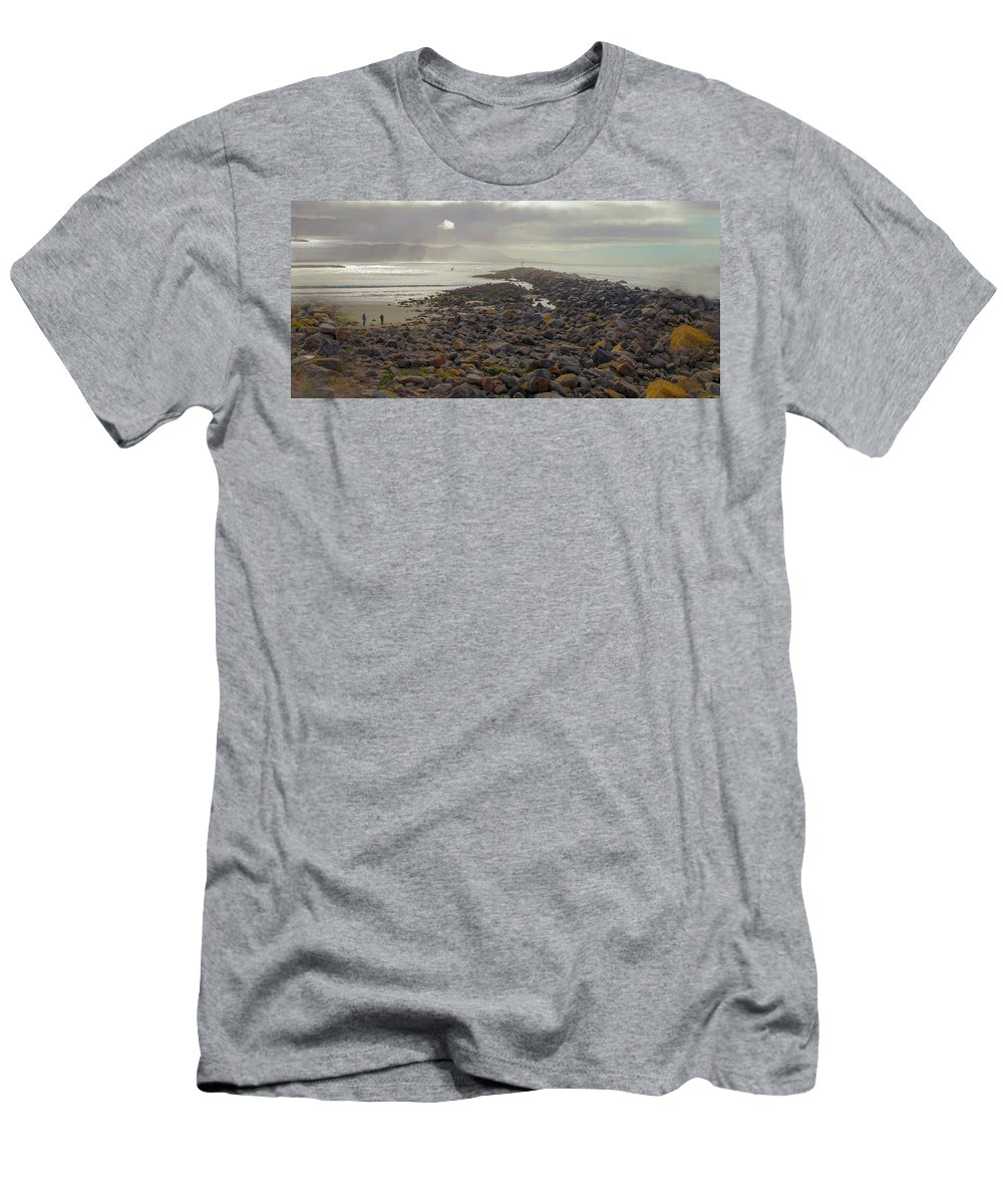 Barbara Snyder Men's T-Shirt (Athletic Fit) featuring the photograph Storm At Morro Rock Breakwater Morro Bay California by Barbara Snyder