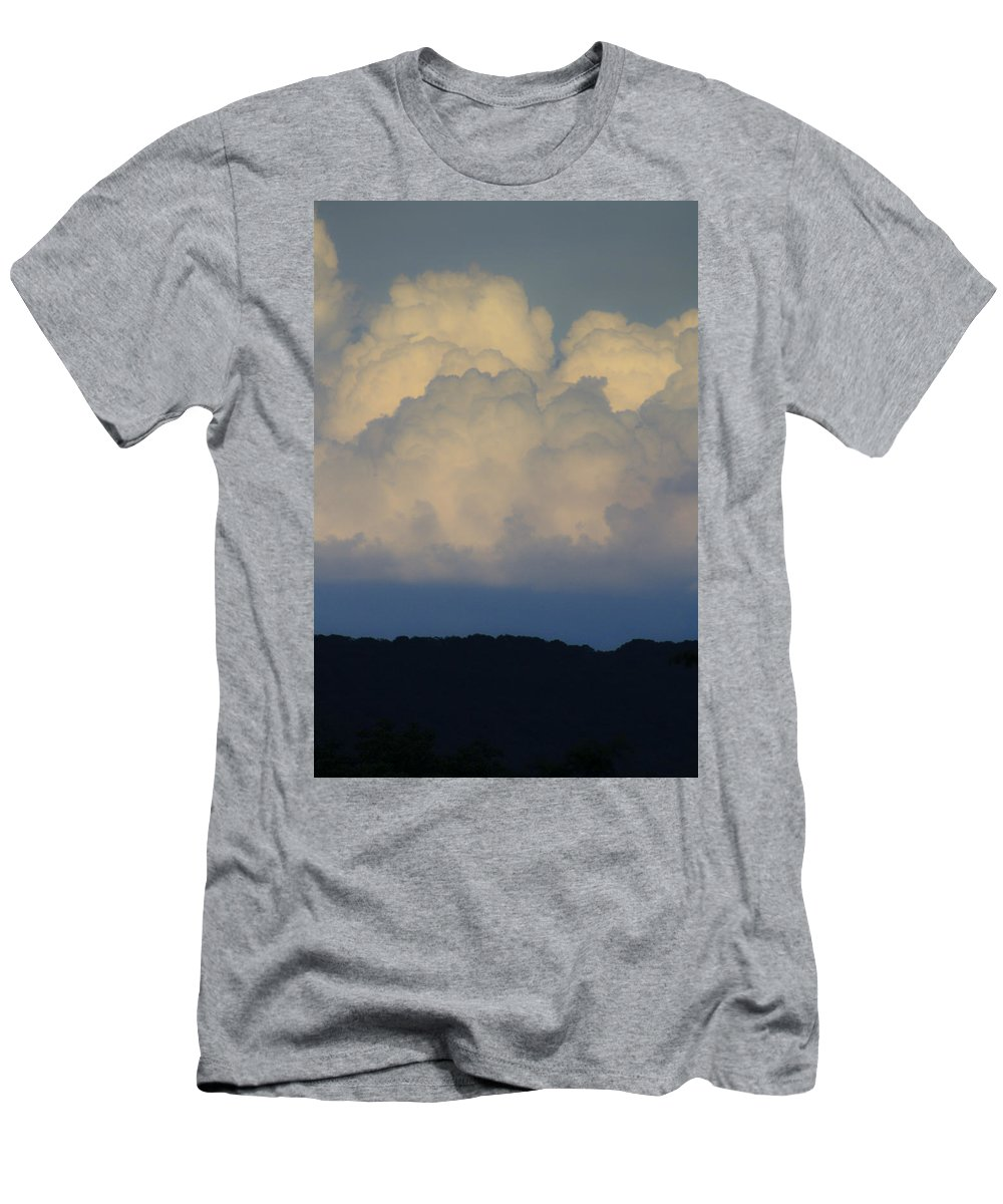 Clouds Men's T-Shirt (Athletic Fit) featuring the photograph Storm At Sunset Bluestone State Park West Virginia by Teresa Mucha