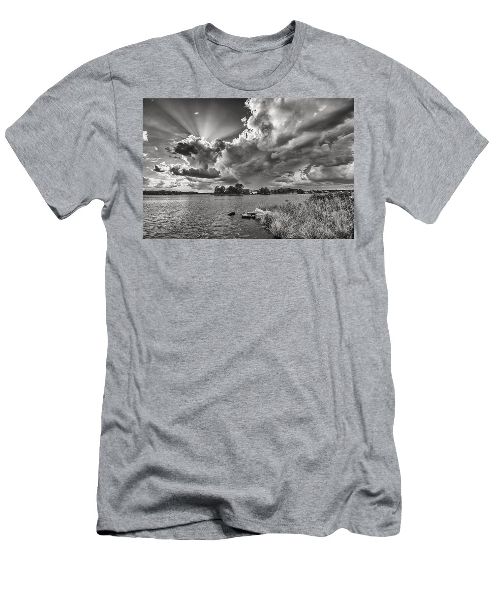 Landscape Men's T-Shirt (Athletic Fit) featuring the photograph Storm Clouds Over Oriental by William Conkwright