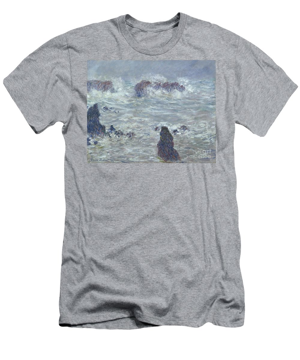 Storm Men's T-Shirt (Athletic Fit) featuring the painting Storm Off The Coast Of Belle Ile by Claude Monet