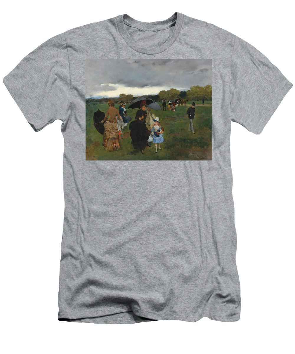 Francisco Miralles Men's T-Shirt (Athletic Fit) featuring the painting Storm On The Bois De Boulogne by Francisco Miralles