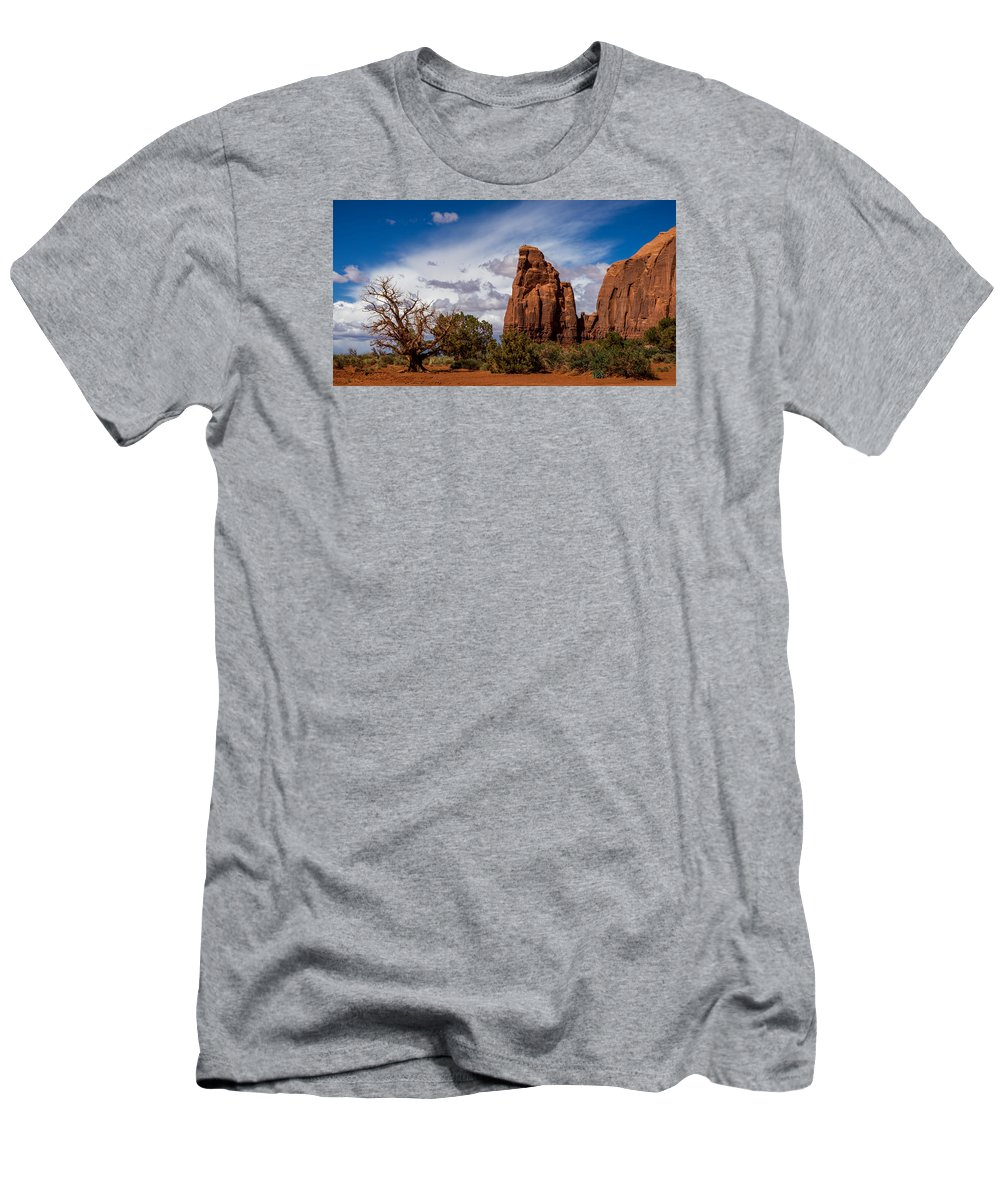 Monument Valley Men's T-Shirt (Athletic Fit) featuring the photograph Stormy Clouds by Prashant Thumma
