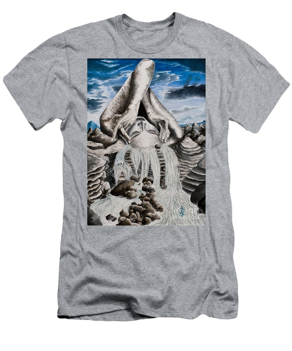 Landscape Portrait Woman Mountains Rocks Stream Water Men's T-Shirt (Athletic Fit) featuring the painting Streams Of Thought by Pauline Sharp