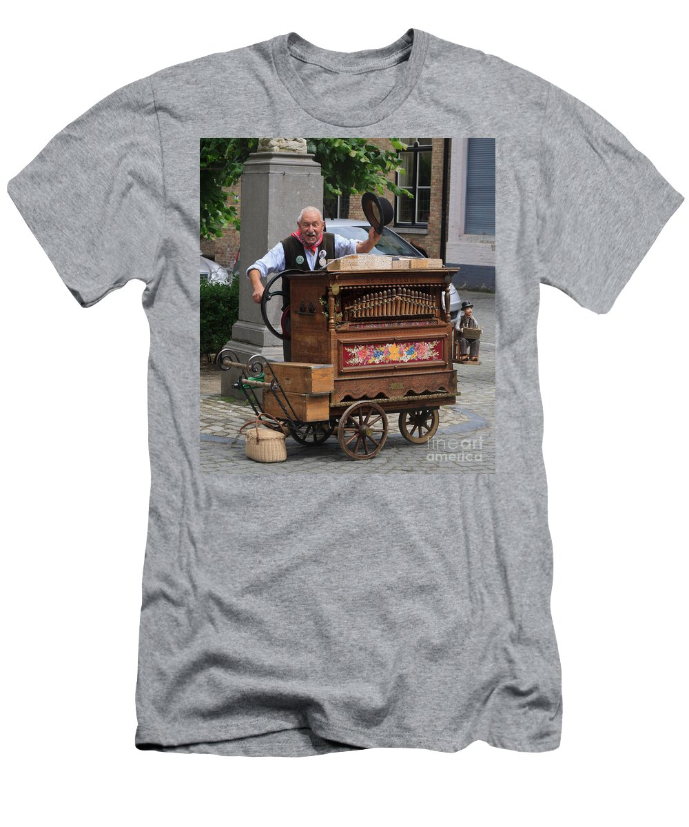 Street Men's T-Shirt (Athletic Fit) featuring the photograph Street Entertainer In Bruges Belgium by Louise Heusinkveld