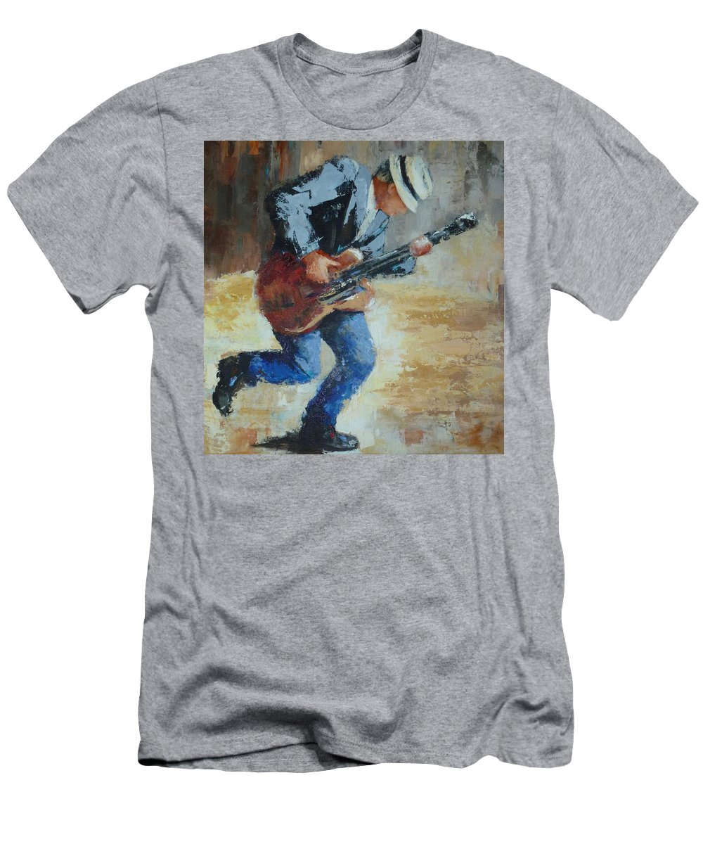 Street Musician Playing His Music Downtown. Men's T-Shirt (Athletic Fit) featuring the painting Street Musician by Frances Velling