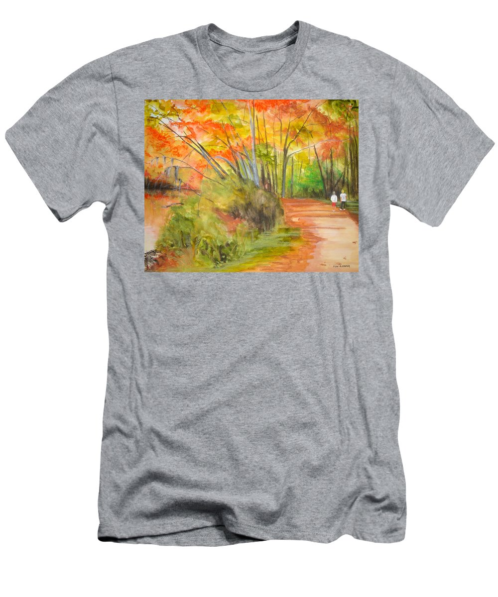 Landscape Men's T-Shirt (Athletic Fit) featuring the painting Strolling Along The Canal by Jean Blackmer