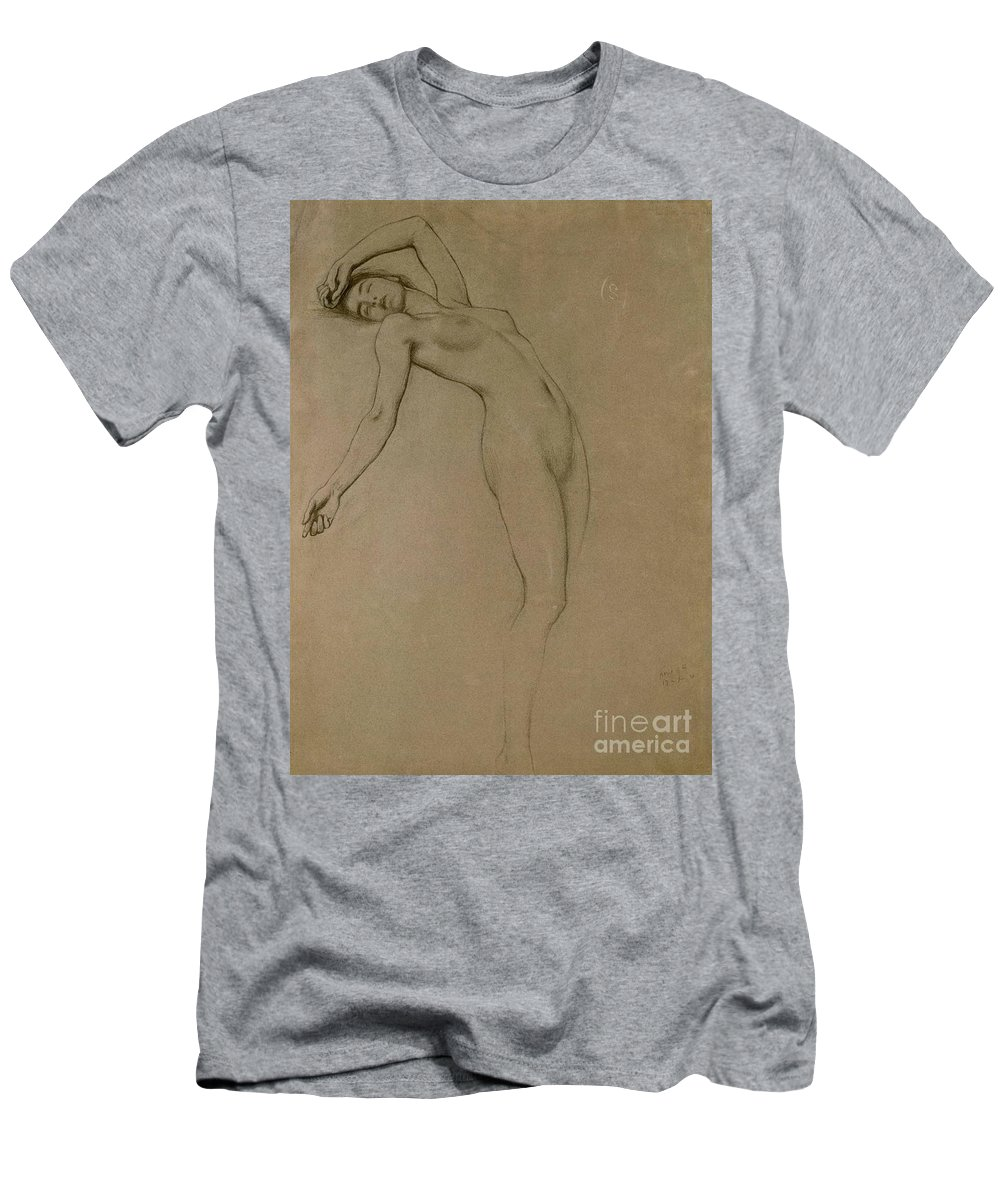 Study Men's T-Shirt (Athletic Fit) featuring the drawing Study For Clyties Of The Mist by Herbert James Draper
