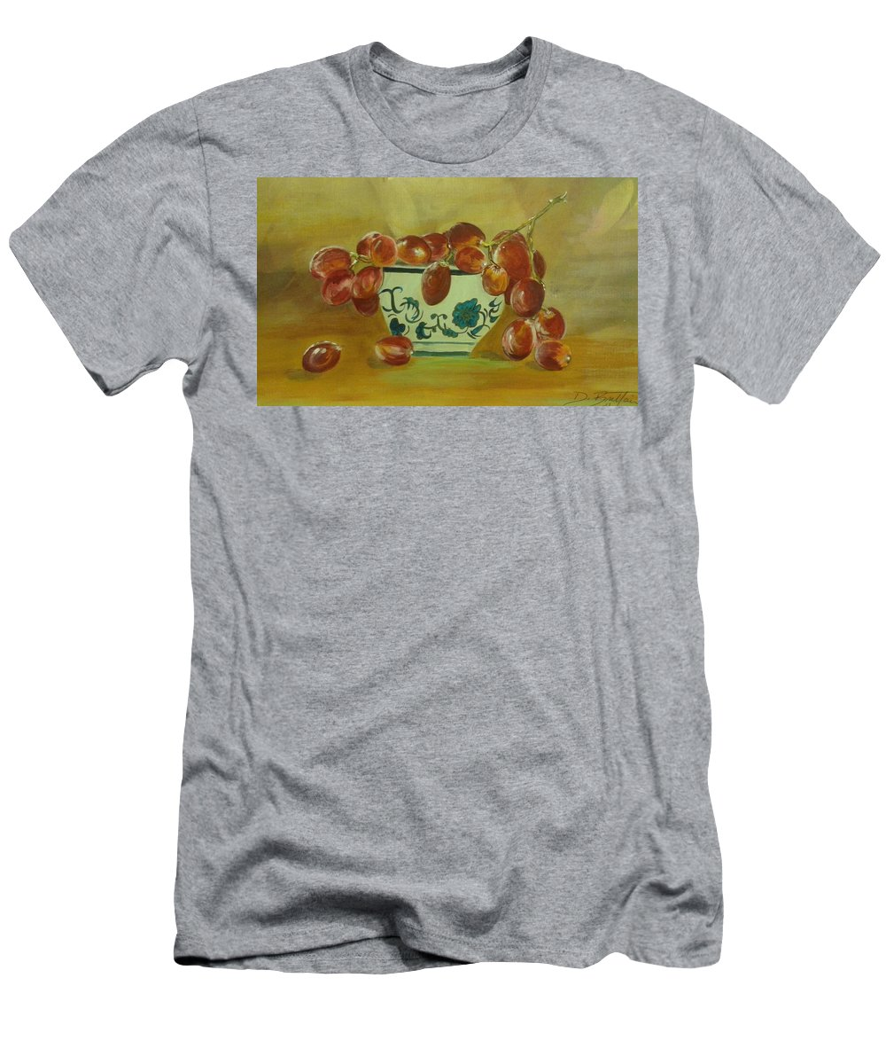 Grapes Men's T-Shirt (Athletic Fit) featuring the painting Study In Glazing by Dolores Brittain