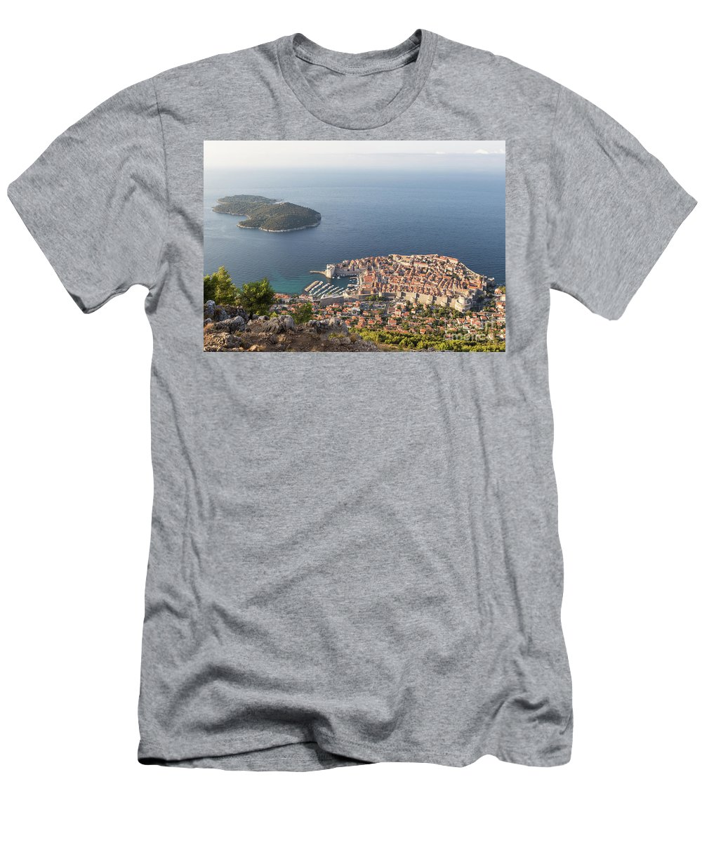 Ancient Men's T-Shirt (Athletic Fit) featuring the photograph Stunning View Of Dubrovnik In Croatia by Didier Marti