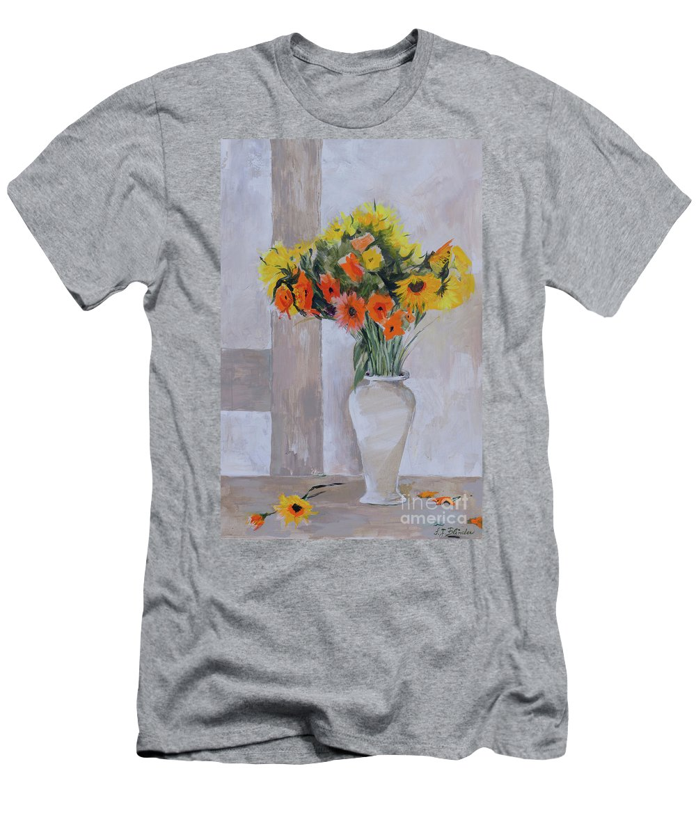 Flower Men's T-Shirt (Athletic Fit) featuring the painting Summer Bouquet by Suzanne J Blinder