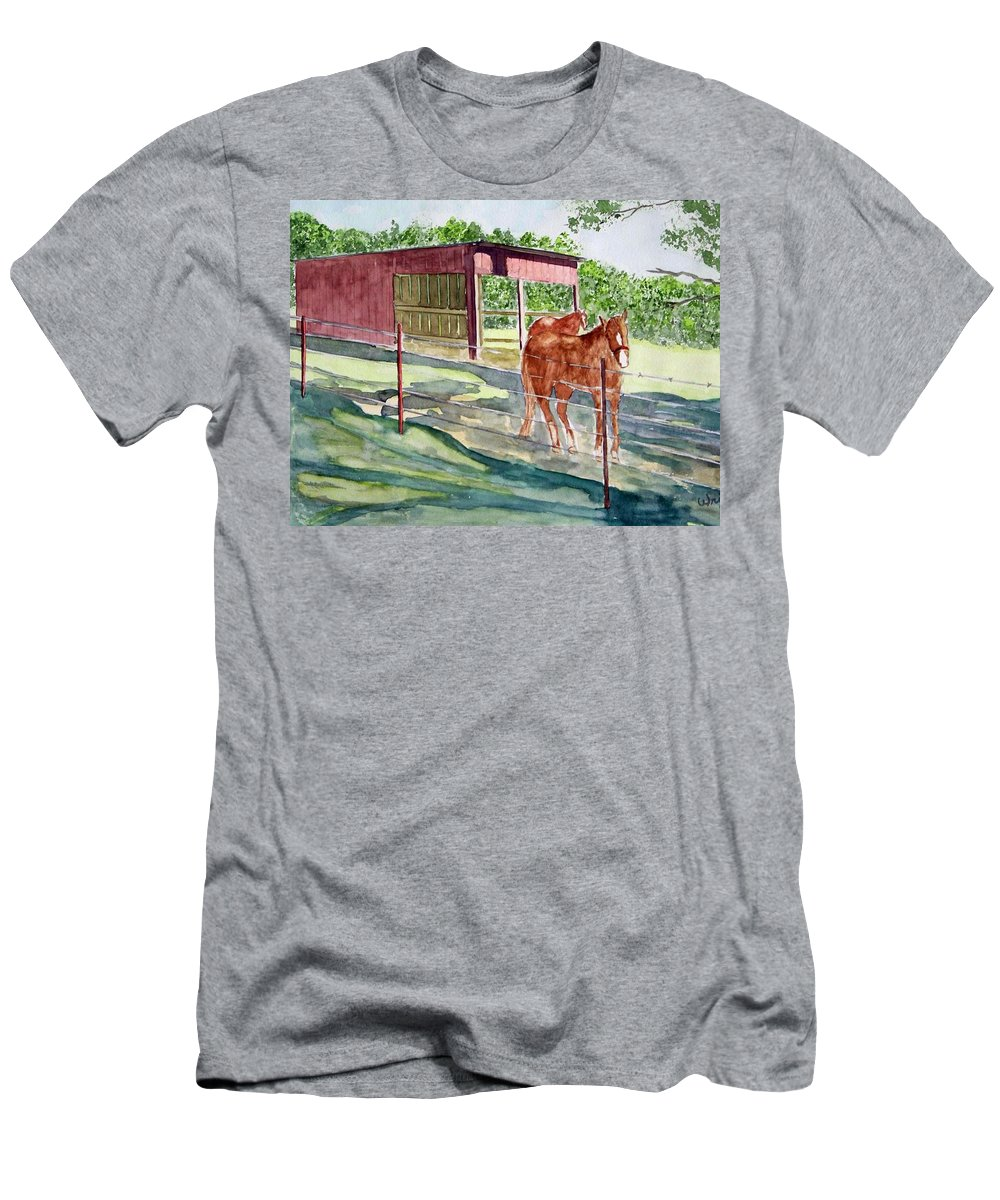 Horse Art Men's T-Shirt (Athletic Fit) featuring the painting Summer Shade by Larry Wright