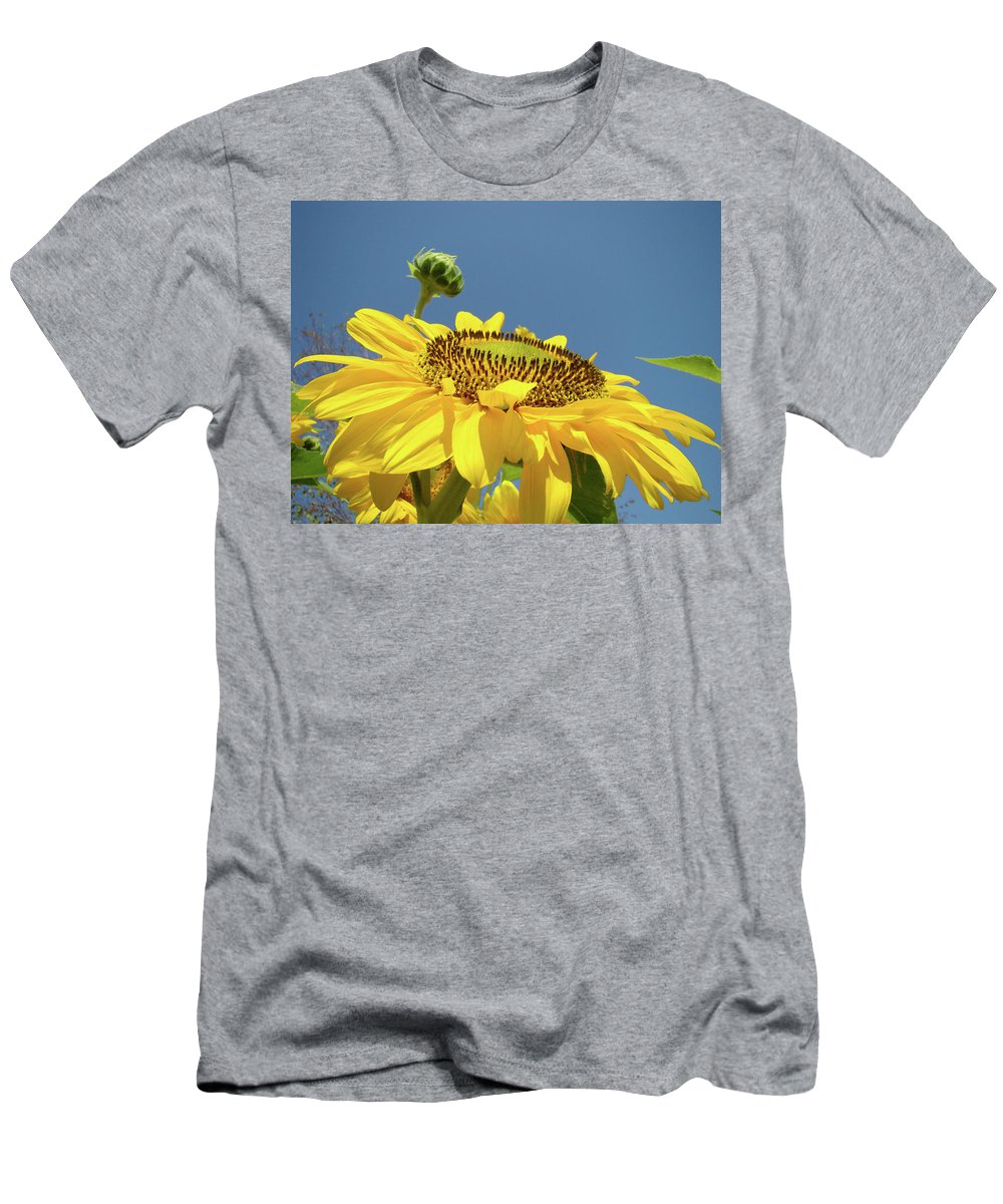 Sunflower Men's T-Shirt (Athletic Fit) featuring the photograph Sun Flowers Summer Sunny Day 8 Blue Skies Giclee Art Prints Baslee Troutman by Baslee Troutman