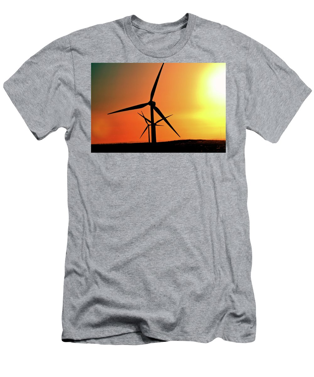 Sun Men's T-Shirt (Athletic Fit) featuring the digital art Sun Glare Upon Alberta Windfarm by Mark Duffy