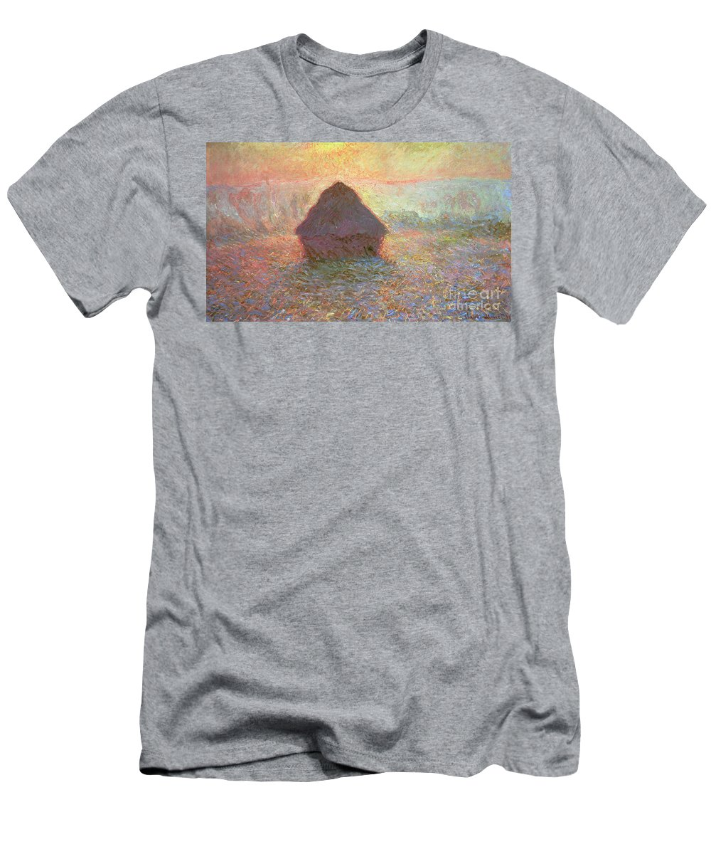 Grainstack Men's T-Shirt (Athletic Fit) featuring the painting Sun In The Mist by Claude Monet