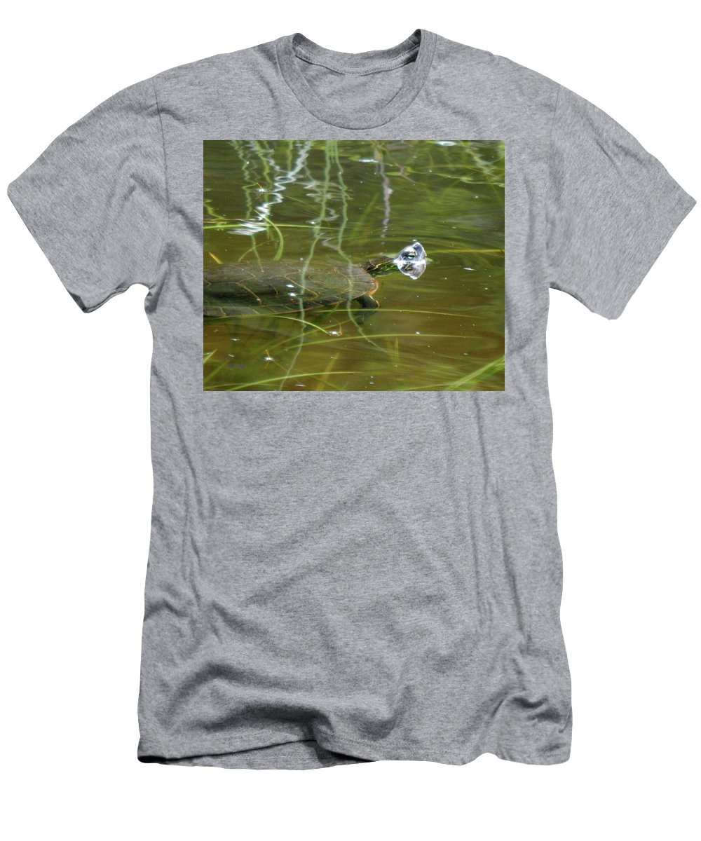 Turtle Men's T-Shirt (Athletic Fit) featuring the photograph Sun Seeker by Wild Thing