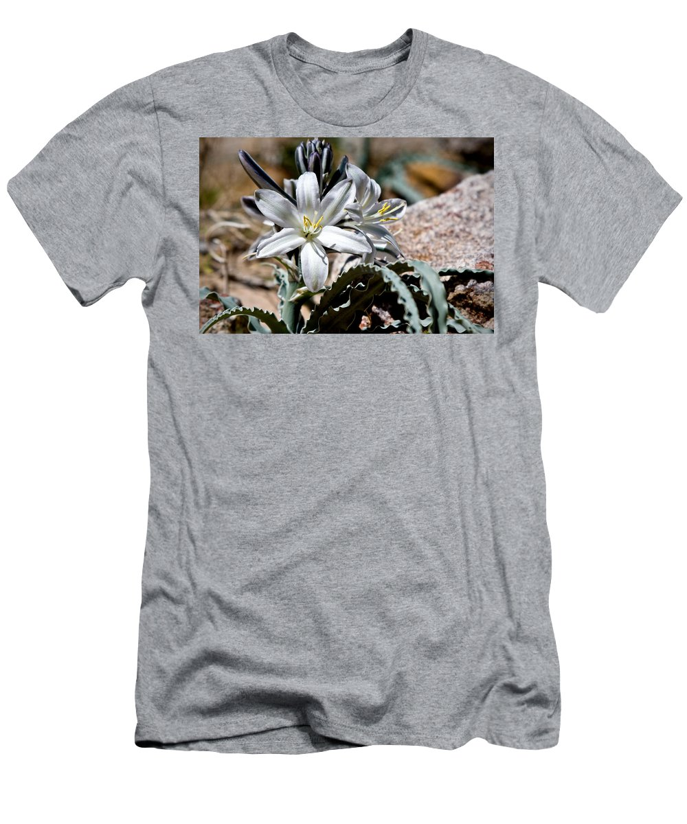Desert Lily Men's T-Shirt (Athletic Fit) featuring the photograph Sun Soaked Desert Lily by Chris Brannen
