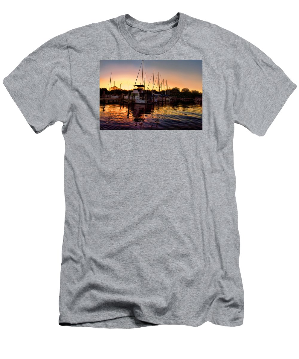 Boat Picture Men's T-Shirt (Athletic Fit) featuring the photograph Sundown At The Marina 2 by Barry Craft