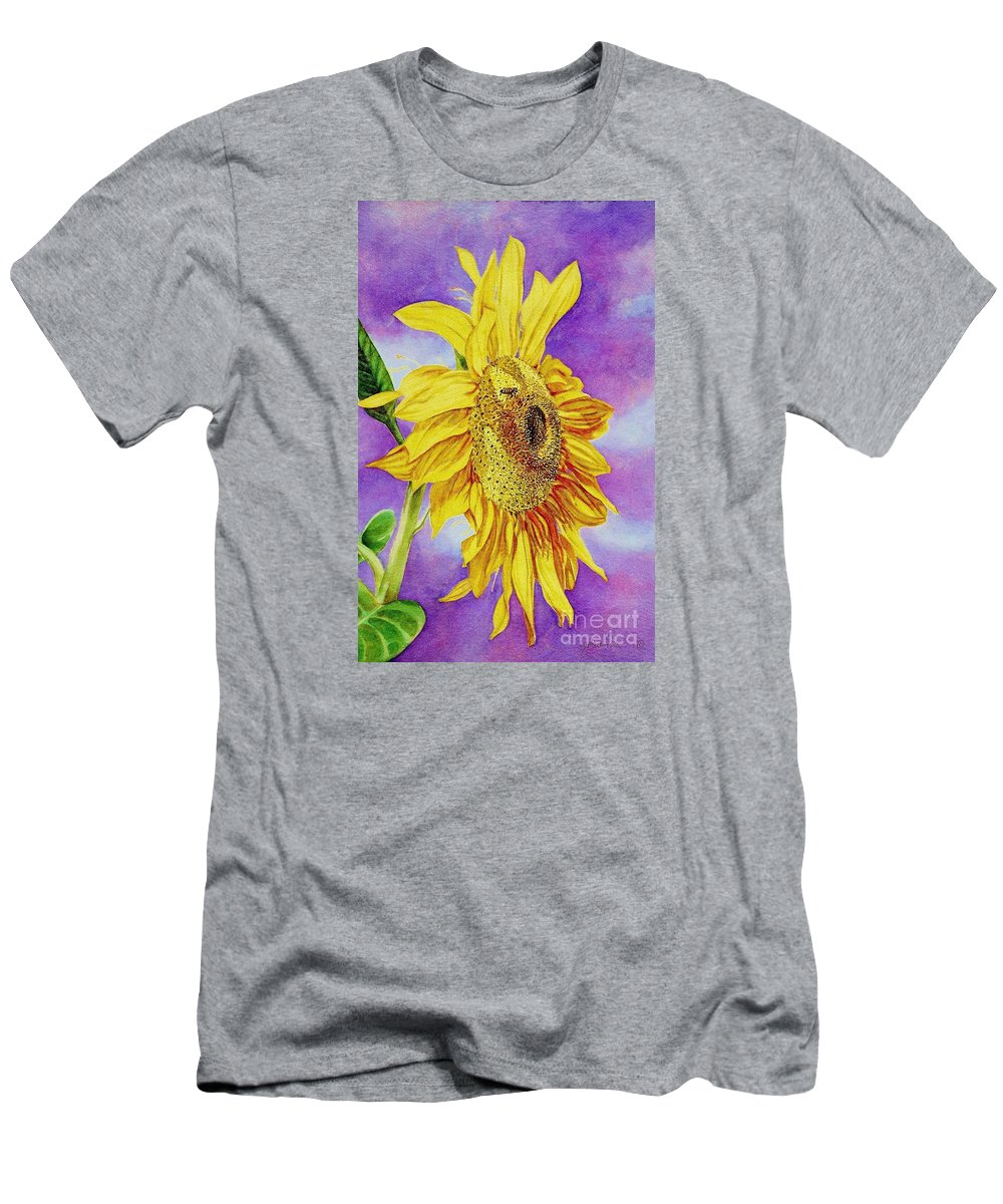 Cynthia Pride Watercolor Paintings Men's T-Shirt (Athletic Fit) featuring the painting Sunflower Gold by Cynthia Pride