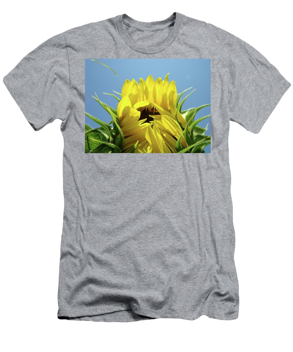 Sunflower Men's T-Shirt (Athletic Fit) featuring the photograph Sunflower Opening Sunny Summer Day 1 Giclee Art Prints Baslee Troutman by Baslee Troutman