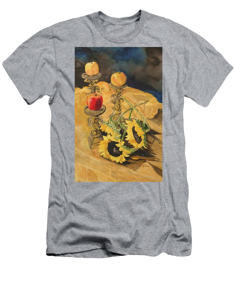 Still Life Men's T-Shirt (Athletic Fit) featuring the painting Sunflowers And Apples by Jean Blackmer
