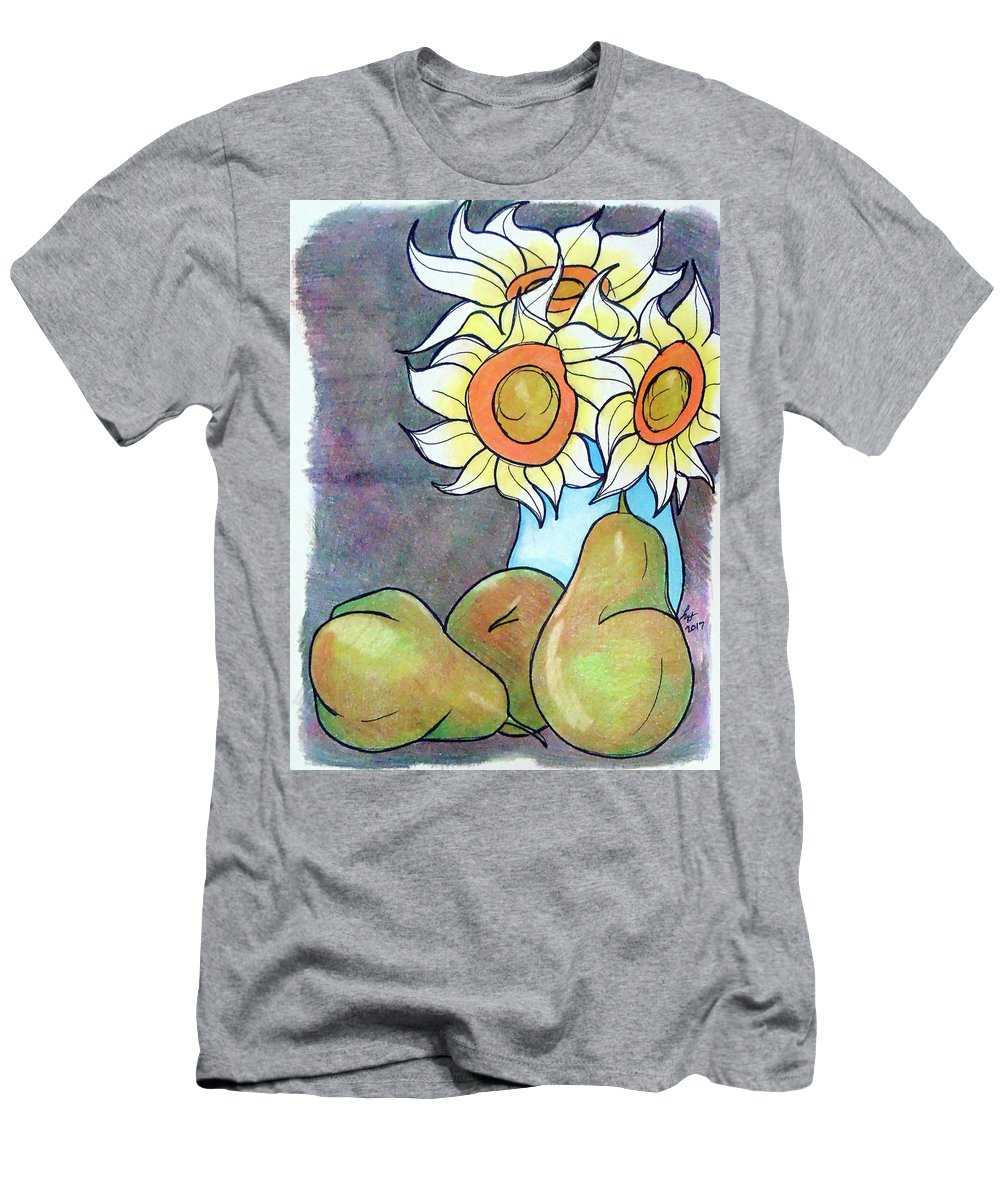 Sunflowers Men's T-Shirt (Athletic Fit) featuring the drawing Sunflowers And Pears by Loretta Nash