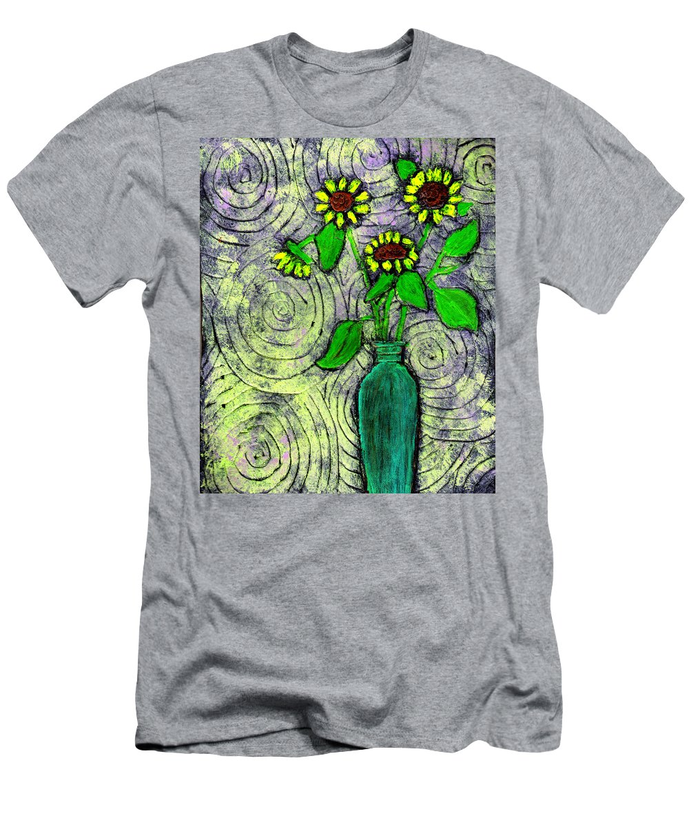 Sunflowers Men's T-Shirt (Athletic Fit) featuring the painting Sunflowers In A Green Vase by Wayne Potrafka