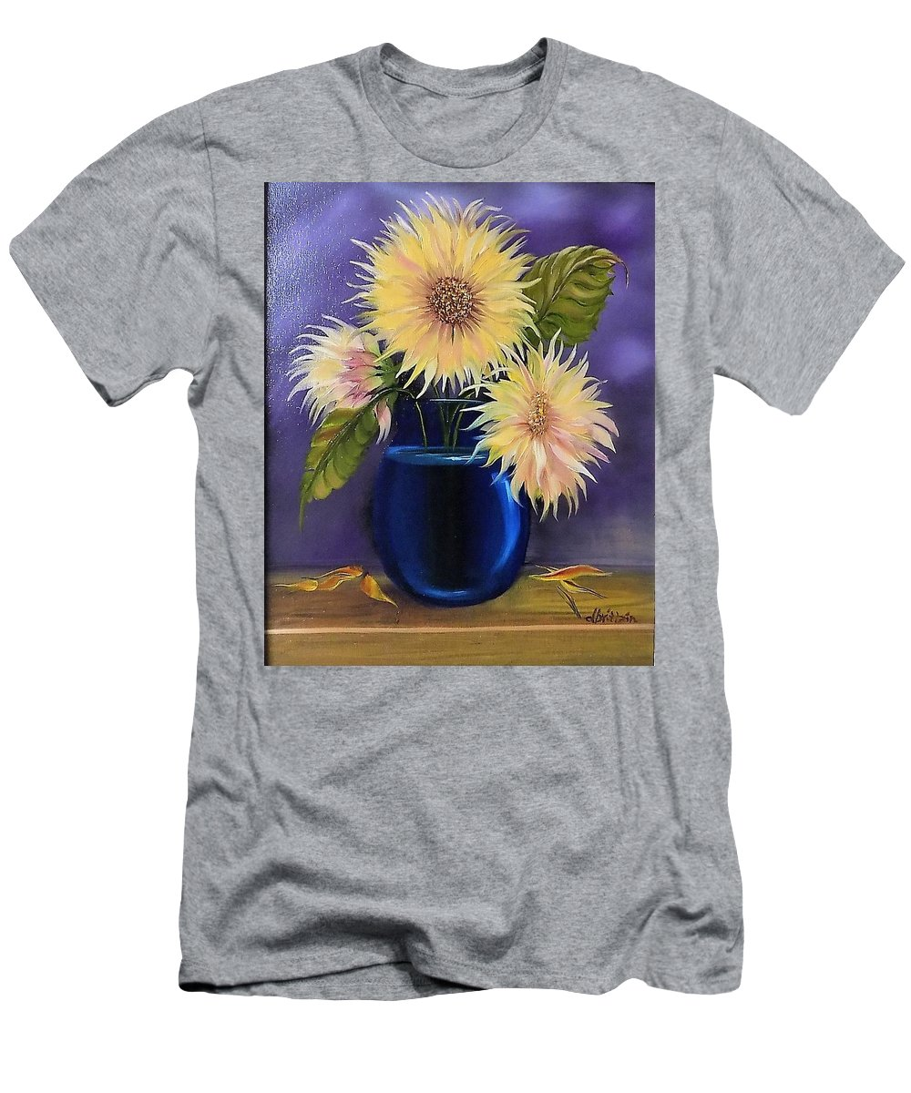 Sunflowers Men's T-Shirt (Athletic Fit) featuring the painting Sunflowers In Vase by Dolores Brittain