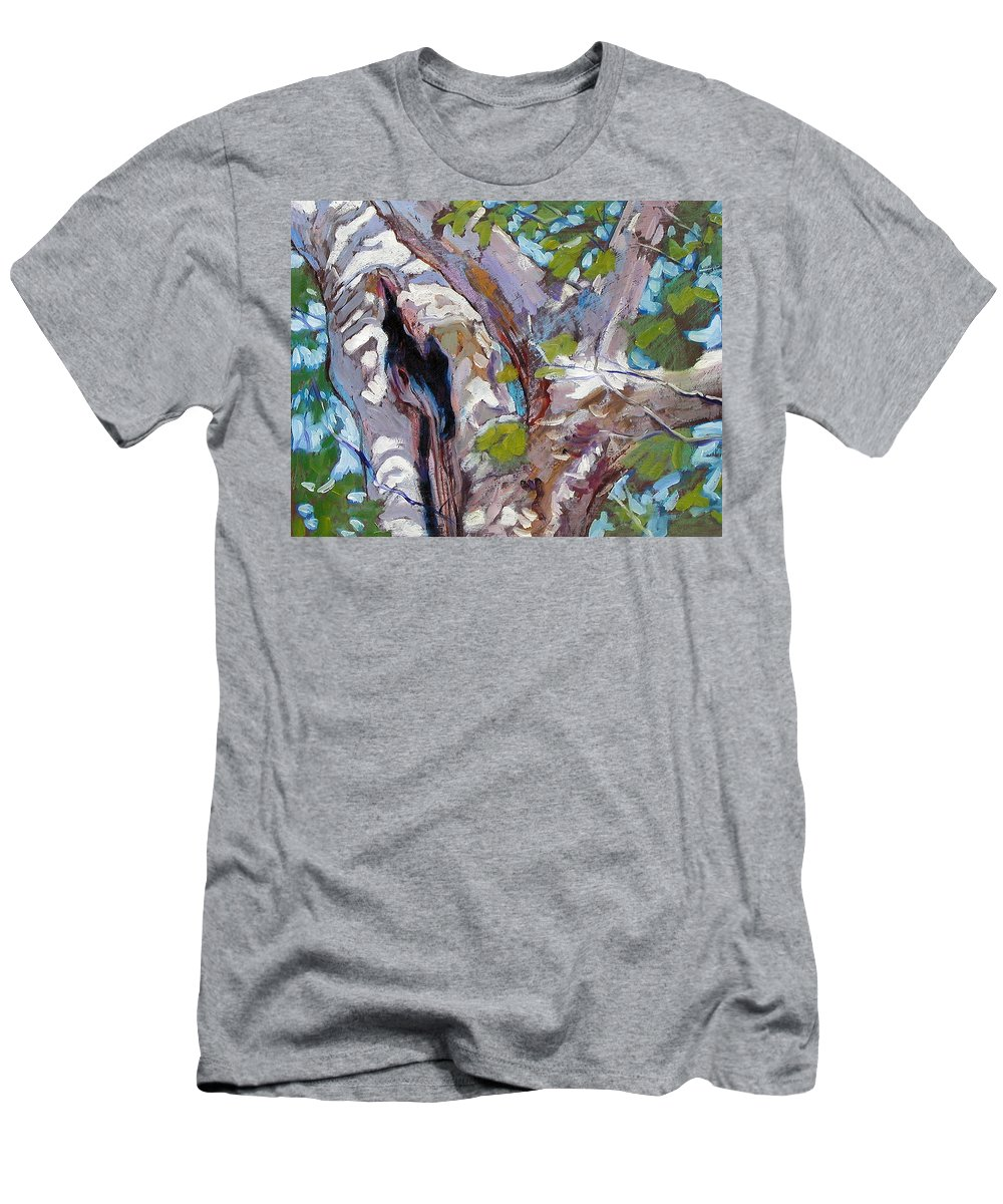 Tree Men's T-Shirt (Athletic Fit) featuring the painting Sunlight On Sycamore by John Lautermilch