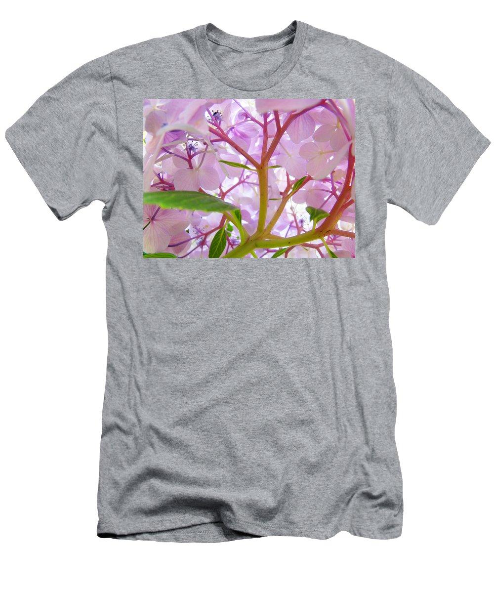 Hydrangea Men's T-Shirt (Athletic Fit) featuring the photograph Sunlit Hydrangea Flowers Garden Art Prints Baslee Troutman by Baslee Troutman